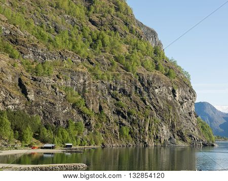 the beautifull aurlandsfjoerd in the norwegian flam