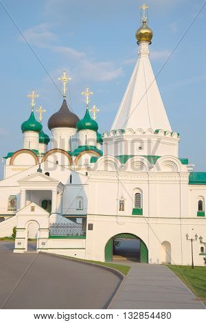 NIZHNY NOVGOROD, RUSSIA - AUGUST 27, 2015: At the entrance to Pechersky ascension monastery on a summer evening. Religious landmark of the city Nizhny Novgorod, Russia
