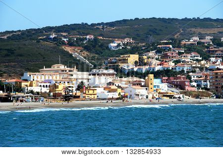 TORRE GUADIARO, SPAIN - JULY 18, 2008 - View of the town and beach Torre Guadiaro Cadiz Province Andalucia Spain Western Europe, July 18, 2008.