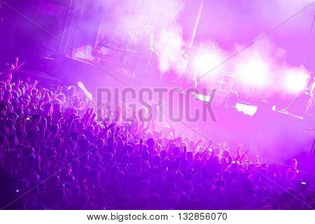 NOVI SAD - JULY 13 : CROWD IN FRONT OF THE MAIN STAGE AT EXIT 2015 MUSIC FESTIVAL, JULY 13 2015 IN NOVI SAD PETROVARADIN FORTRESS SERBIA
