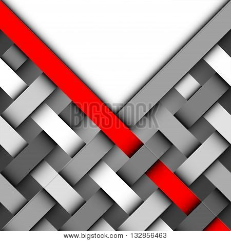 Abstract Background. White blank template for a text with the interweaving geometric elements.