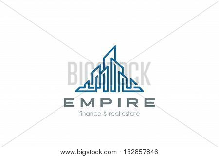Real Estate Logo Construction Skyscrappers design vector Linear