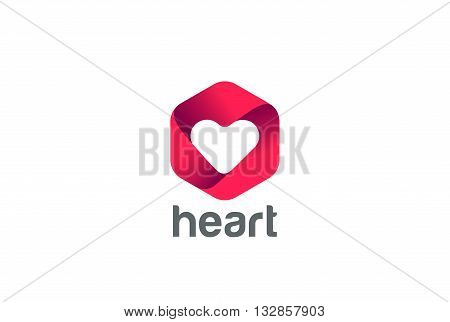 Heart Logo design vector Happy Valentines Day Infinity Love icon