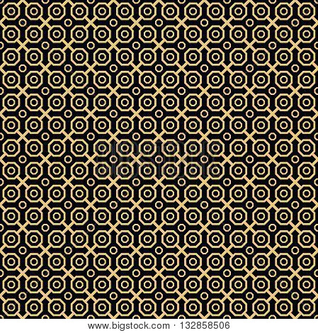 Geometric fine abstract vector octagonal background. Seamless modern pattern. Black and golden pattern