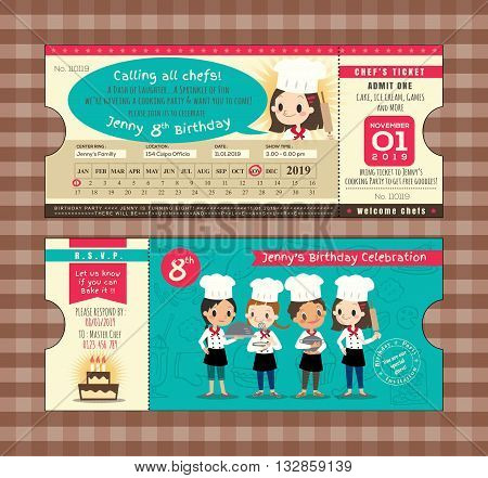 Ticket Birthday card party Invitation Template with chefs cooking theme