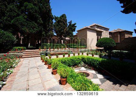 MALAGA, SPAIN - JULY 11, 2008 - Surtidores patio garden in the castle (Patio de los Surtidores in the Alcazaba) Malaga Malaga Province Andalucia Spain Western Europe, July 11, 2008.