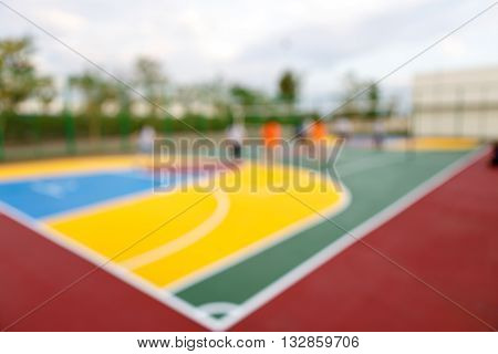 People Play Volleyball In Stadium Blurred Sence