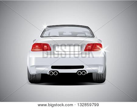 side back car sport white color vector
