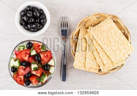 Vegetable Salad In Bowl, Fork, Crispbread In Wicker Basket