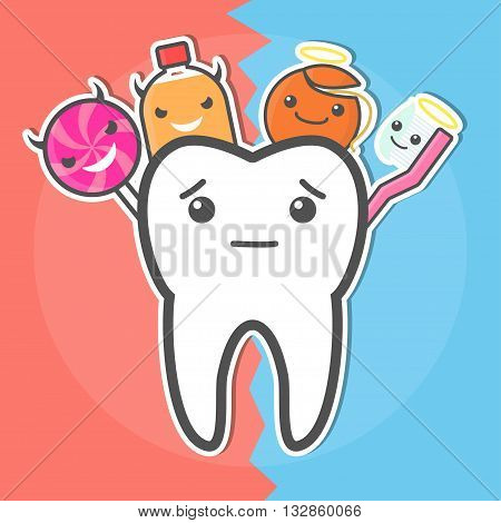 Good and evil. Sweets versus hygiene concept. Dental vector illustration