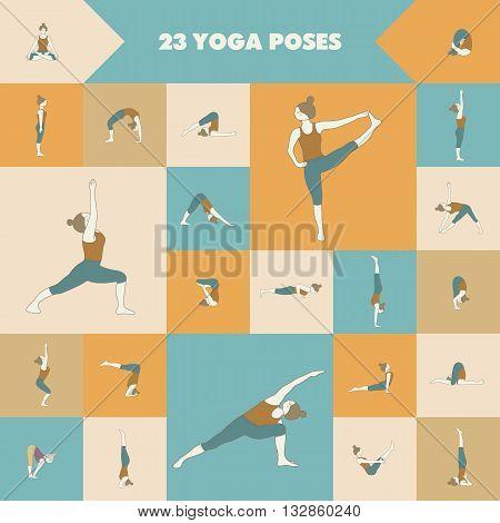 Yoga. Set of twenty three asanas (yoga poses).