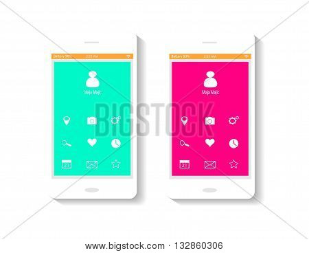 mobile interface UI pink and neon color
