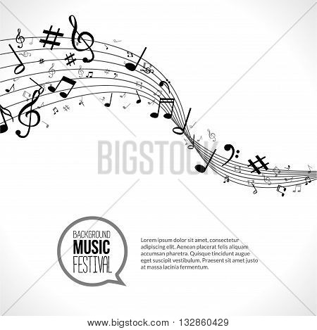 Vector abstract Music notes and lines. On white isolated background. Musical concept.
