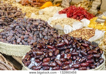 Dried fruits assortment at market in Spain