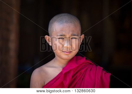 BAGAN MYANMAR - JANUARY 20 2016: Unidentified portrait monk visit the Bagan Pagoda
