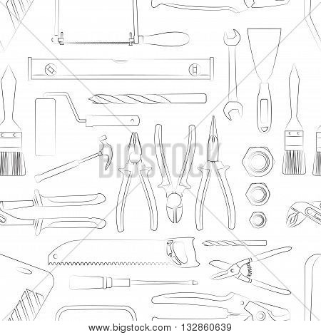 Construction tools pattern of hand drawn icons. Vector illustration