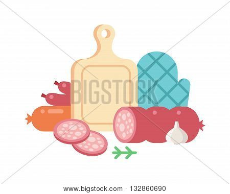 Set of cartoon food meat cuts assortment beef, pork, lamb, round steak, meat cubes for stew. Meat cutting isolated on white. Meat cutting vector and fresh salami meat cutting ingredient.