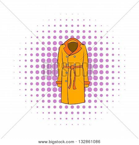 Autumn coat icon in pop-art style on dotted background. Clothing symbol