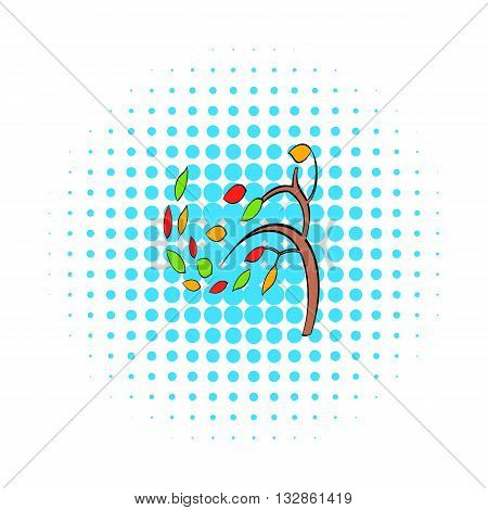 Autumn tree icon in pop-art style on dotted background. Falling leaves symbol