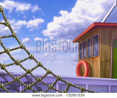 Digital Painting Illustration of a Wooden deck of a ship with fishnet in Realistic Cartoon Style