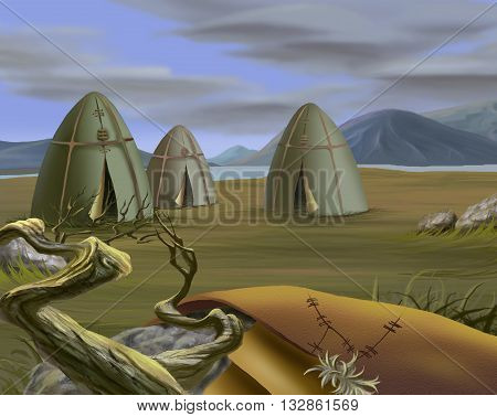 Digital Painting Illustration of a Traditional Tent in Tundra Yurt. Realistic Cartoon Style