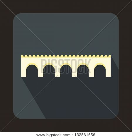Long bridge icon in flat style with long shadow. Construction and facilities symbol