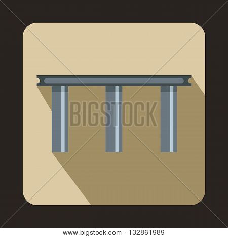 Narrow bridge icon in flat style with long shadow. Construction and facilities symbol