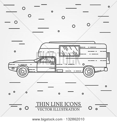 Traveler Truck Camper Thin Line. Camping Rv Trailer Family Caravan Outline Icon. Rv Travel Camper Gr