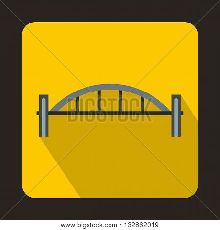 Bridge with round pillars icon in flat style with long shadow. Construction and facilities symbol