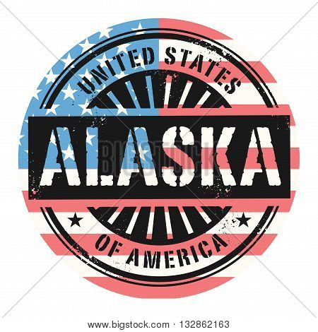 Grunge rubber stamp with the text United States of America, Alaska, vector illustration