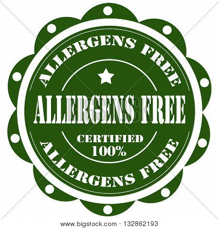Green stamp with text Allergen Free,vector illustration