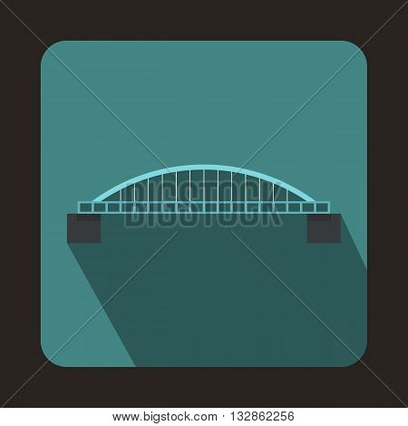 Classic bridge icon in flat style with long shadow. Construction and facilities symbol