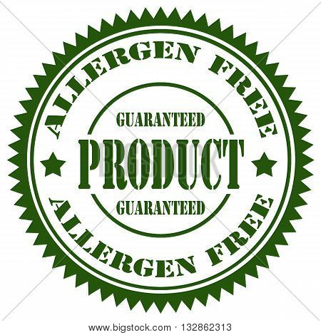 Stamp with text Allergen Free, vector illustration