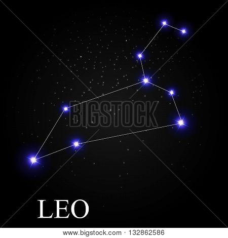Leo Zodiac Sign with Beautiful Bright Stars on the Background of Cosmic Sky Vector Illustration EPS10