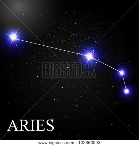 Aries Zodiac Sign with Beautiful Bright Stars on the Background of Cosmic Sky Vector Illustration EPS10