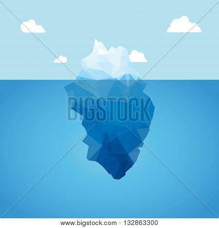 Vector 3d iceberg illustration concept. Success, clean blue cold sea or ocean concept