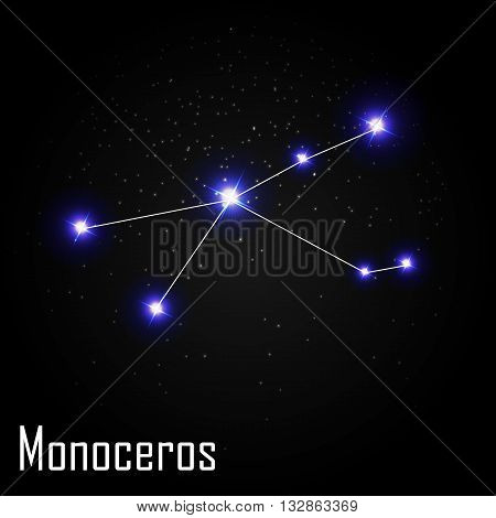 Monoceros Constellation with Beautiful Bright Stars on the Background of Cosmic Sky Vector Illustration EPS10