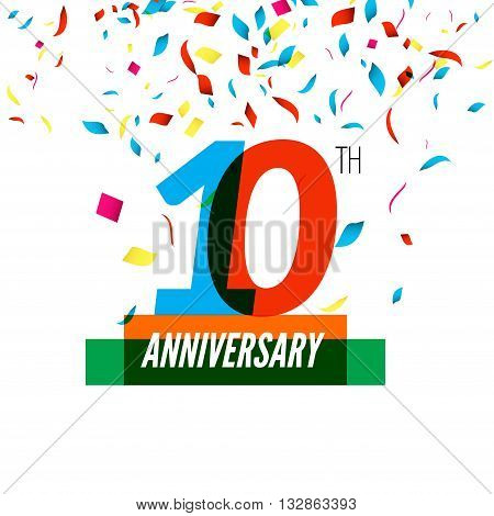 Anniversary design. 10th icon anniversary. Colorful overlapping design with colorful confetti.