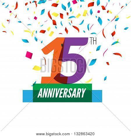 Anniversary design. 15th icon anniversary. Colorful overlapping design with colorful confetti.