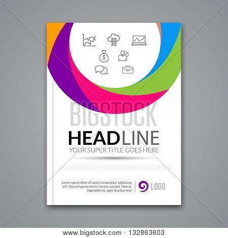 Vector Poster Flyer design Template. Abstract colorful circle business background for Business Flyers, Posters and Placards. Brochure template.