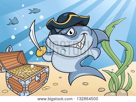Illustration of the dangerous shark pirate guarding the treasure chest