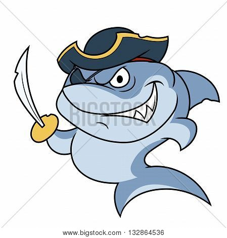 Illustration of the dangerous shark pirate with sabre