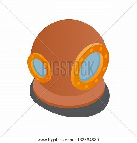 Diving suit helmet icon in isometric 3d style isolated on white background. Costume and equipment symbol