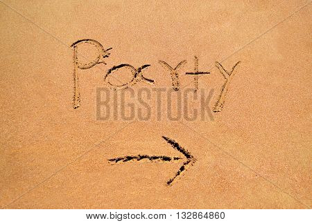 summer party note written on sand - sand note icon