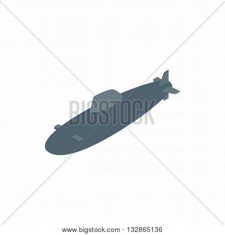 Submarine icon in isometric 3d style isolated on white background. Sea and transport symbol
