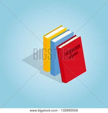 Three books icon in isometric 3d style on blue background. Reading symbol