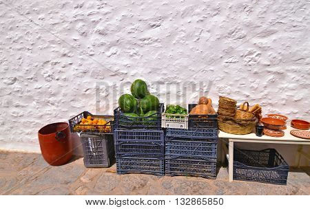traditional grocery shop with fruits at Aegean island Greece