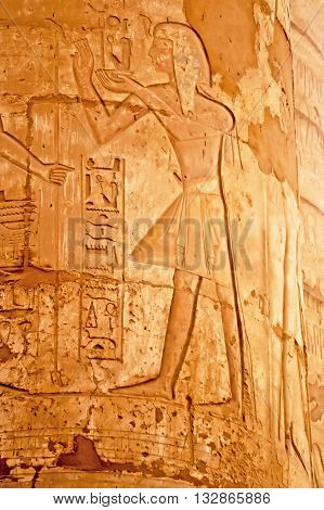 Details of magnificent columns of the Great Hypostyle Hall at the Temples of Karnak (ancient Thebes), Luxor, Egypt