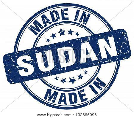 Made In Sudan Blue Round Vintage Stamp.sudan Stamp.sudan Seal.sudan Tag.sudan.sudan Sign.sudan.sudan