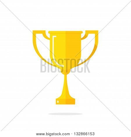 Golden cup vector illustration isolated on white background, gold cup icon shiny yellow cup golden flat cartoon design